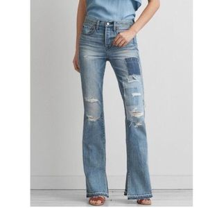 American Eagle Vintage Hi-Rise Patch Flare Jean